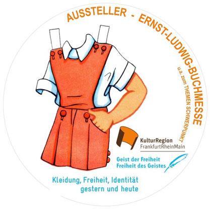Symbolische Kennzeichnung der Aussteller  des Themenkreises Kleidung, Freiheit, Identität auf der Ernst-Ludwig-Buchmesse,  krfrm