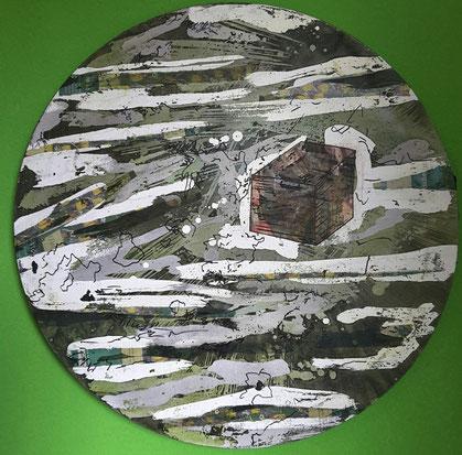 """""""Hinter den Grenzen"""", Tondo mit Collage, 50 x 50 cm. Nov./Dez. 2015"""