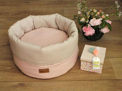 Katzenbett Kuschelsack Streifenlook rosa