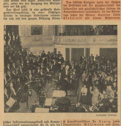 """Richard Strauss dirigiert das Festkonzert zum 25. Jubiläum des Wiener Konzerthauses. Quelle: """"Völkischer Beobachter"""", 21. Okt. 1938, S. 9"""