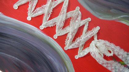 Dentelle - Couture de boutons et dentelles et huile sur toile peinte à la résine - 46x55