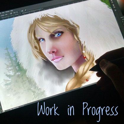 digital art, work in progress, artist, portuguese artist, art, portrait, fantasy, female protagonist, warrior woman, painting, wacom, vanessa bettencourt art, heir of scars, how to paint, I draw women