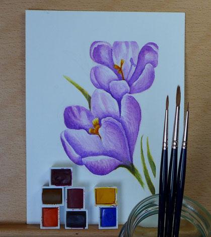 """""""Ein Jahr mit Blumen"""" - Krokusse malen - DIY-Projekt"""