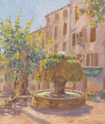 La fontaine du Champignon sur la place de la Mairie à Barjols dans le Var et le plus ancien platane de provence