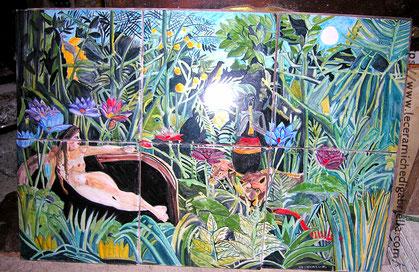 pannello per bagno pannello ceramica omaggio Henri_Rousseau il sogno misure 40 x 60