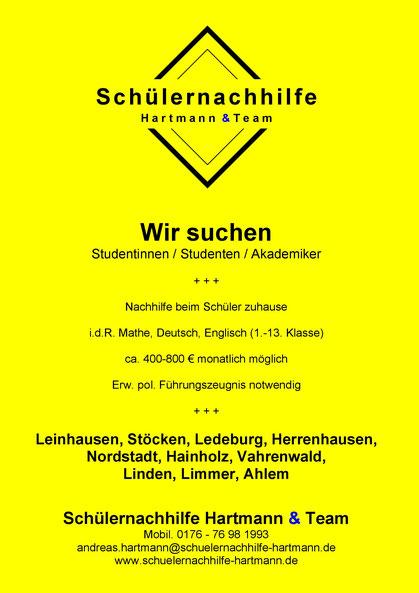 Anzeige Nachhilfe: Wir suchen Studierende für Hannover