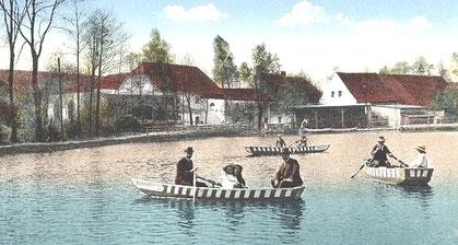"""Die Hüttermühle Radeberg - Ausflugsziel und """"Erlebnisbereich"""" für jung und alt. Alte Postkarte um 1900"""