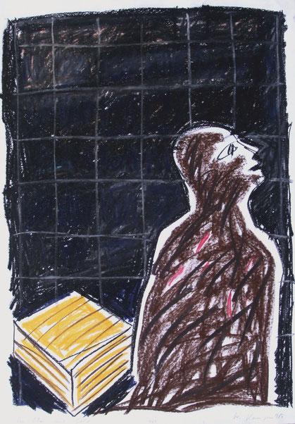 Im Mai mit Gold, 1986, 70/100 cm, Kreide auf Zeichenpapier