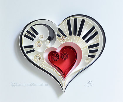 Piano - Music quilling art - Wall paper art - Gift for musician - Music art - Home decor - Anniversary - Birthday, quilling, musis art, quilling paper, larissazasadna, heart, love music