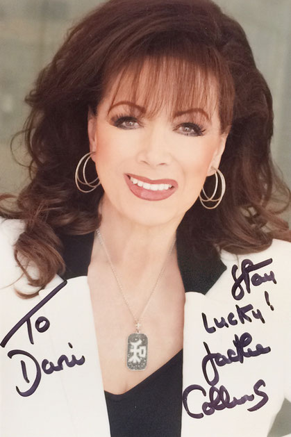 Jackie Collins (1937-2015), UK/US Author, sold more then 500 million (!) Copies of her Books, 2013 appointed as Officer of the Order of the British Empire, she was the sister of the Actress Joan Collins, Autograph by Mail