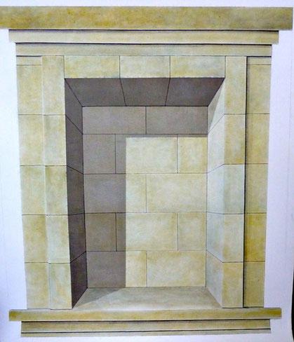 Sandsteinnische mit Schattenwurf