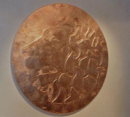 Löwenkopf in Kupfer, 110 cm Durchmesser