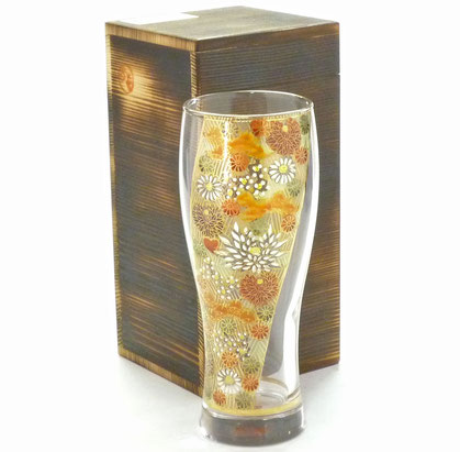 九谷焼【ビアカップ】ガラスのお殿様・お姫様気分(金花詰)『木箱入り』