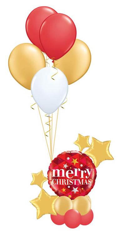 Ballon Luftballon Heliumballon Deko Dekoration Überraschung Mitbringsel Box  aus der Ballongruß Versand verschicken Weihnachten rot gold luxury Geschenk Idee Ballonpost Stern elegant  Bouquet Heliumballons Merry Christmas