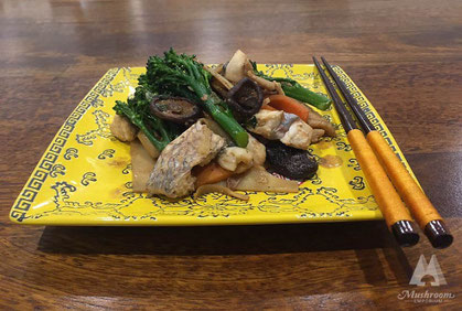 Stir-fried snapper with shiitake