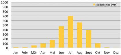 Klimadiagramm - Niederschläge in Gangtok in Sikkim
