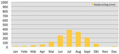 Klimadiagramm durchschnittliche Niederschläge in Kathmandu