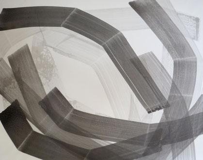 strokes 17,  Tusche mit Kreidegrund auf Leinwand, 100x120 cm