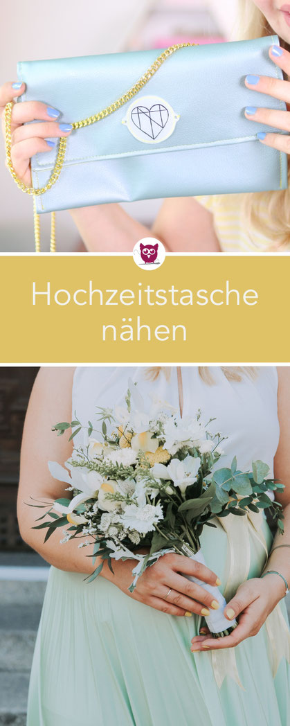 [Eigenwerbung] Hochzeitstasche / Clutch nähen #ClutchClara auas dem DIYeuleBuch mit Taschenkette aus Kunstleder. Nähanleitung von DIY Eule.