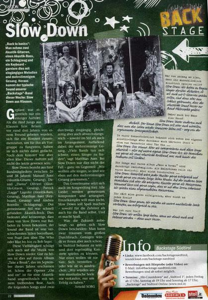 Dolomiten Magazin - Südtirol, Rockband, Coverband, Alto Adige, Slow Down, Matrimonio, Hochzeit