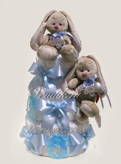 """© Торт из памперсов для двойняшек """" Зайчата Ми"""""""