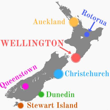Carte de la Nouvelle-Zélande PURI