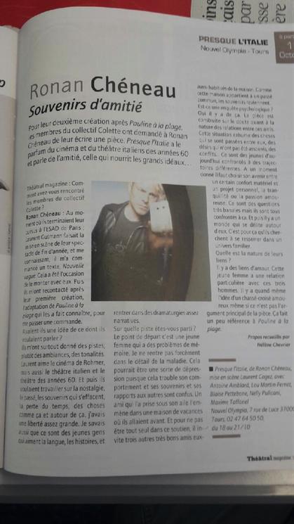 Interview de l'auteur Ronan Cheneau dans le Theatral Magazine