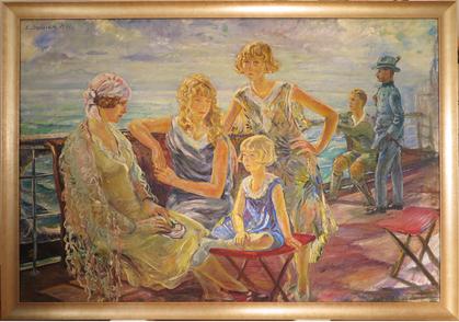 Erwin Bowien ( 1899-1972): Werkverzeichnis N° 53 – Familie Enzenross auf einem Bodenseeschiff, 1930