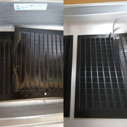 換気扇レンジフードフィルターのクリーニング前とクリーニング後の写真です。比べると油がかなり溜まっているのが分かります。