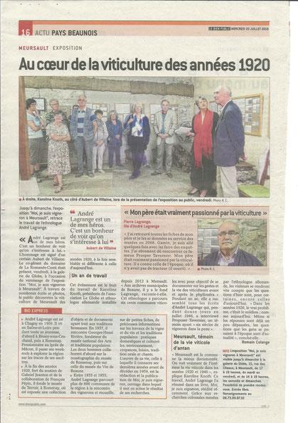 """2016 - Vernissage de l'exposition """"Moi, je suis vigneron à Meursault - une enquête d'André Lagrange"""" en présence d'Aubert de Villaine et Pierre Lagrange"""
