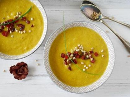Karotten-Lauch-Suppe / Cabanossicroûtons / Buchweizen