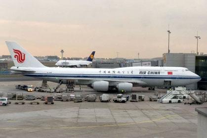Flugzeug, Boeing 747 Air China Frankfurt nach Peking, Jumbo, Flughafen