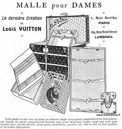 Publicité Samedi 2 juillet 1904 Louis Vuitton malle courrier pour dame