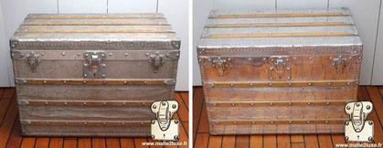 Malle Aluminium explorateur Louis Vuitton de 1892 Nettoyage pour retrouver l'état d'origine, malle recouverte d'aluminium massif. Lire la suite...