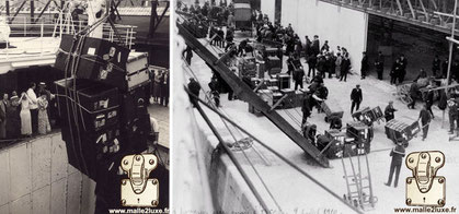Embarkation of luggage at the port of call in Le Havre, July 9, 1910 trunk mail courrier Louis Vuitton