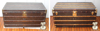 Louis Vuitton mail trunk Circa  1895 Mark II checkered canvas   covered with a thick layer of varnish. Read more...