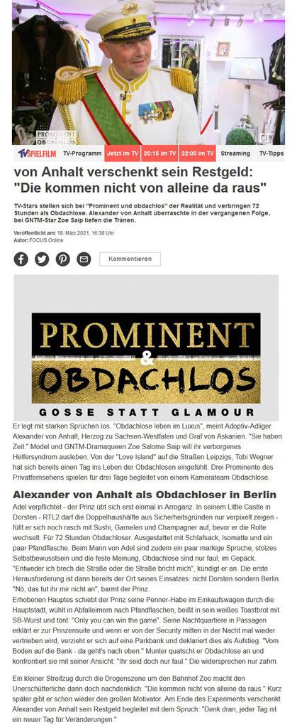 """""""Prominent und obdachlos"""": Prinz Alexander von Anhalt verschenkt sein Restgeld: """"Die kommen nicht von alleine da raus"""""""