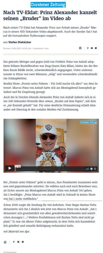 """Nach einem TV-Eklat hat Alexander Prinz von Anhalt seinen """"Bruder"""" Marcus in einem 100-Sekunden-Video abgekanzelt. Auch der Sender Sat.1 hat auf die homophoben Äußerungen reagiert."""