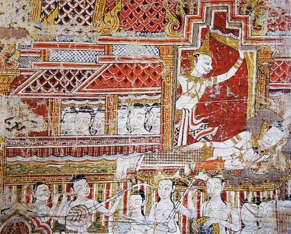 Phra Bot, sacred fabric. Fragment of a painted cotton banner. Probably 18th century. This detail represents Prince Siddhartha's grand departure from his palace. © Jim Thompson House. Bangkok.