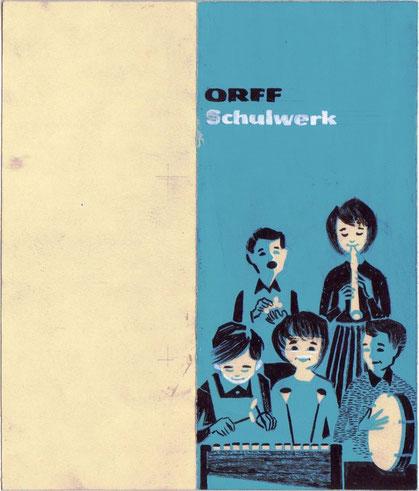Orff Schulwerk . Kinder musizieren mit Orff Instrumenten. Entwurf für ein Kinderbuch für das Orff Schulwerk von Heinz Traimer um 1960