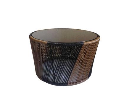 Mesa de centro tejida Balandra de 70 cm de diámetro uso interiores y exteriores.