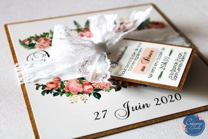 cette image représente un faire-part de mariage champêtre, sur-mesure et artisanal