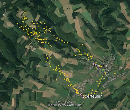 Abbildung 1: Route einschließlich eingetragener Beobachtungs Punkte
