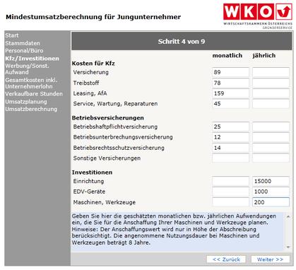 WKO-Mindestumsatzberechnung Schritt 4