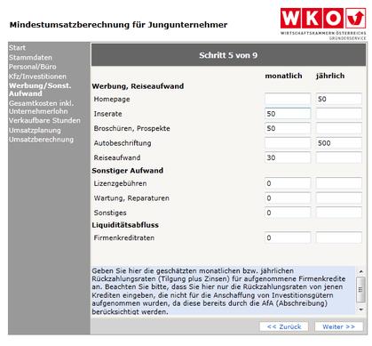 WKO-Mindestumsatzberechnung Schritt 5
