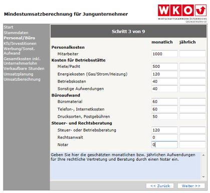 WKO- Mindestumsatzberechnung Schritt 3