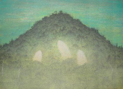 「かの山」F4 雲肌麻紙・膠・銀泥・岩絵の具