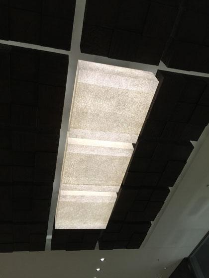 四角い箱が天井に連なっている。その中の3つが照明だ!