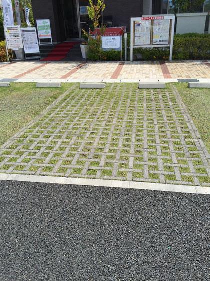 コンクリート系の緑化パーキング資材。こちらはニッコーのグラセーヌだと思われます。