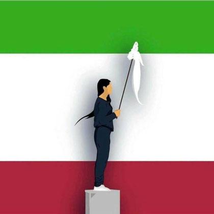 En kvinde i Teheran protesterede mod tørklæde-påbuddet ved at tage det af og vifte med det (December 2017)
